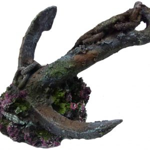 Anchor On Rock Aquarium Decor