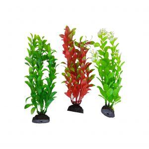 Natural Colors Green & Red Seaweed Plastic Aquarium Plants, 3 pack