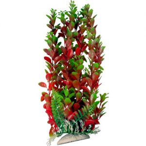 Burgundy and Green Plastic Aquarium Plant with Base 15-16 Inch Tall