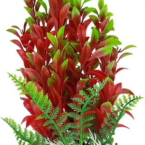 Burgundy and Green Plastic Aquarium Fish Tank Plant Weighted Base 7 Inch Tall, Fish Safe