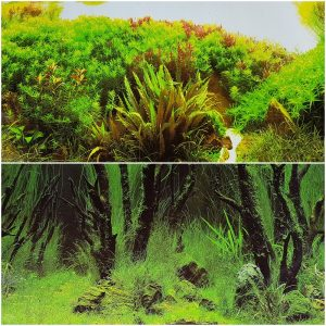 "Double Sided Aquarium Background 19"" x 48"" Deep In Ocean Greenery or Natural Plant Wood Greenery, Reversible"