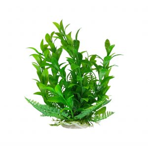 Green Aquarium Plant with Base 6-7 Inch Tall