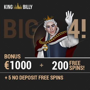 King Billy Casino 5 no deposit free spins + €1000 bonus + 200 gratis spins