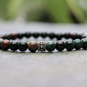 Bloodstone and Sterling Silver Beaded Bracelet 6mm