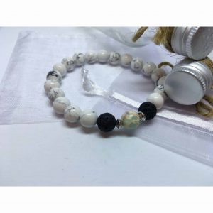 Howlite, Baby Blue Regalite and Lava Stone Bead Bracelet.