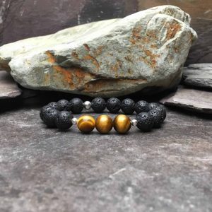 10mm Tigers Eye and Lava Stone Diffuser Bracelet. 3 x Tigers Eye Beads with silver spacers and the rest of the bracelets is lava stone