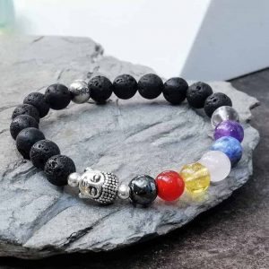 Buddha Head Beaded Bracelet seven Chakra Bead Bracelet with Lava Stone For Essential Oil Diffuser
