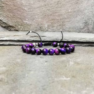 Purple tigers eye beaded bracelet diffuser