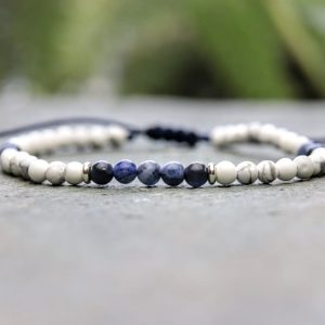 4mm slimline howlite and sodalite beaded bracelet with sterling silver