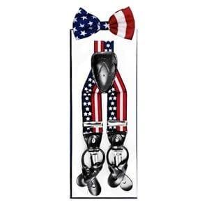 USA Flag Partiotic Suspenders and Bowtie Set