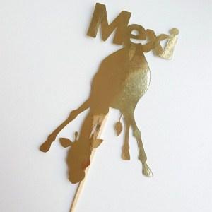Caketopper giraf gepersonaliseerd met naam