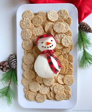 Snowman Cheese Ball - Easy Holiday Charcuterie Board