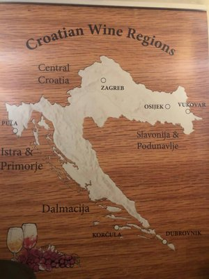 A map of Croatia's wine regions. Photo by Lori Zaino.