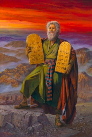 The commandments given to Moses at Mount Sinai