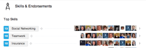 Example of Skills & Endorsements Section on LinkedIn.
