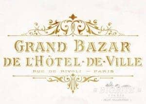 Shabby Chic Stencil Vintage Hotel de Ville Grand Bazar Advert b01
