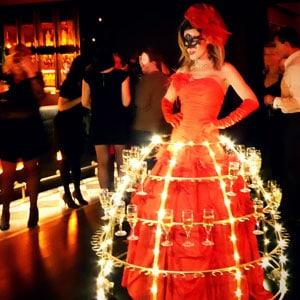 Robe a champagne, Robe à cocktails à LED, animation originale entreprise