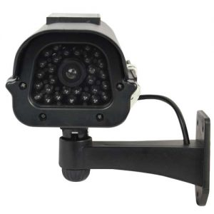 Dummy CCTV Camera With Solar Chargeable Battery Red LED Black Front Three