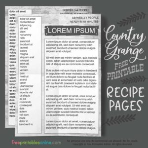 Recipe Book Printable Pages