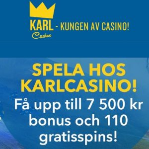KARL CASINO - 110 gratis spins and 150% up to 7500 kr free bonus