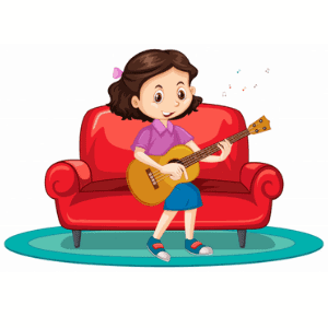 girl practicing the guitar