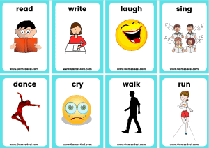 Action Verbs Small Flashcards