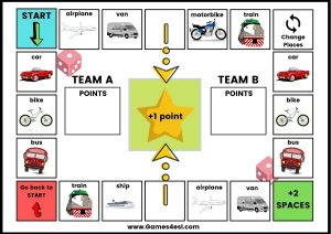 Printable ESL Board Game - Transportation
