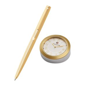Sheaffer 9474 Ballpoint Pen With Gold Chrome Table Clock Rs. 4200