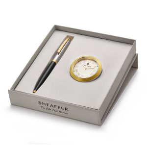 Sheaffer 9475 Ballpoint Pen With Gold Chrome Table Clock Rs. 2400