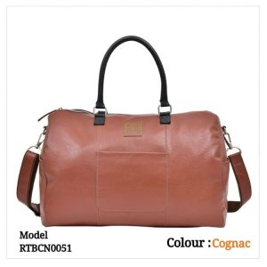 Leather Travel Duffel Bag 0051 Congac