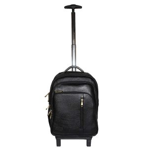 18 Inch Leather Laptop Backpacks Trolley Bags Black