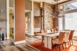 beige and brown painted dining room