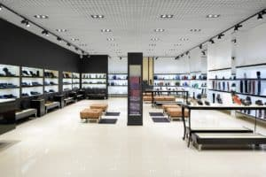 black and white painted retail space