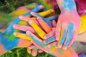 painted hands in many colors
