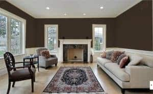 living room painted all in van dyke brown