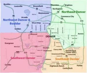 Color coded denver region map