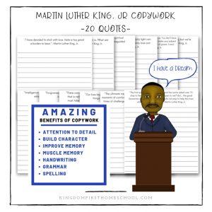 Martin Luther King, Jr Copywork for Homeschoolers