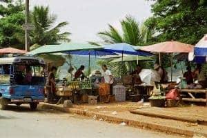 central market of Luang Prabang near Mekong river