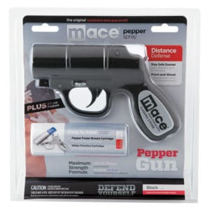 Black Mace Pepper Spray Gun with strobe light front package view