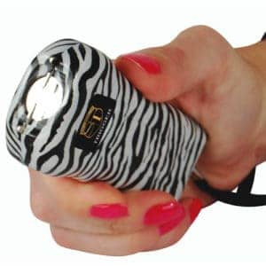 Zebra design trigger stun gun flashlight hand held front view