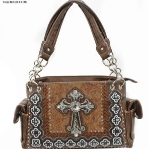 Western Rhinestone Conceal Carry Handbag with Cross Brown