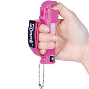 Pink Mace Jogger Pepper Spray with Key Chain Viewed in Hand