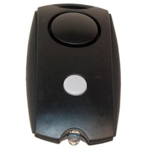 Black Mini Personal Security Alarm with LED flashlight Front Top View