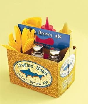 use a six pack holder to organize your condiments