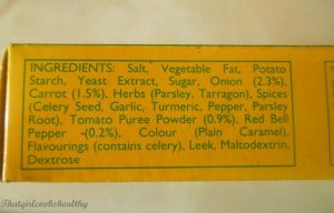 Ingredients on the back on Knorr stock cubes