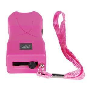 pink runt stun gun bottom view wrist strap wall charger