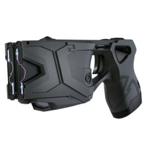 Side View Taser X2 Defender Kit Black with Laser In Holster