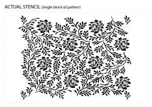 Twigs and Flowers Ornamental Pattern Vintage Stencil