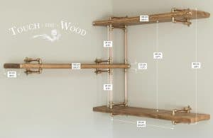 Copper Pipe Corner Shelf Unit with Brass and Reclaimed Wood - sizes
