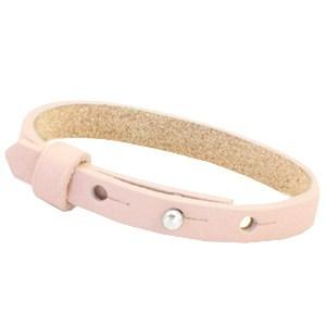 leren SOS armband zachtroze
